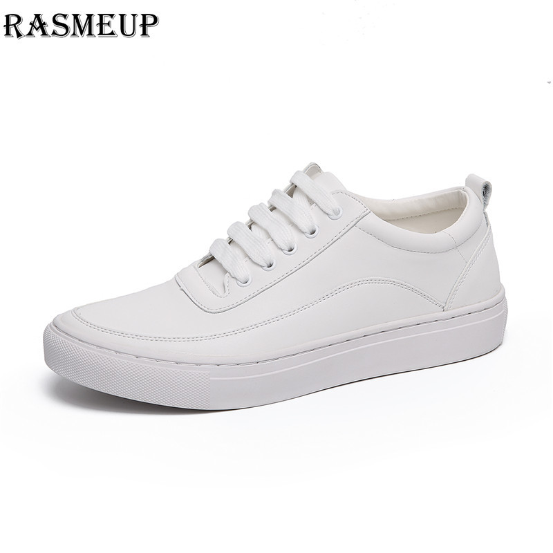 RASMEUP Leather Women's White Sneakers 2018 Fashion Brand Women Lace Up Flat Walking Shoes Comfortable Woman Casual Footwear 2018 new casual leather sneakers red black lace up comfortable footwear women sneakers shoes 6 5cm