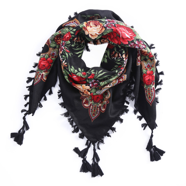 2018 New Russian Women Wedding Ethnic Style Square Shawl andmade Cotton Print Flower pattern Brand Scarf Tassel Headband