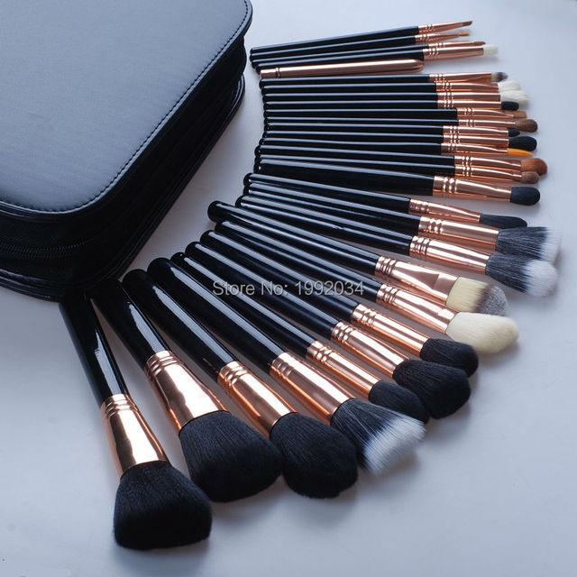 Profesional 29 unids cepillos cosmético funda de cuero con cremallera polvos base sombra de ojos del labio lápiz de ojos