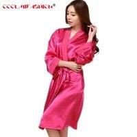 Women Silk Robe Nightgown Traditional Solid Kimono Bath Gown Sleepwear Ladie's Long Satin Robe Dressing Gown Bathrobe With Belt