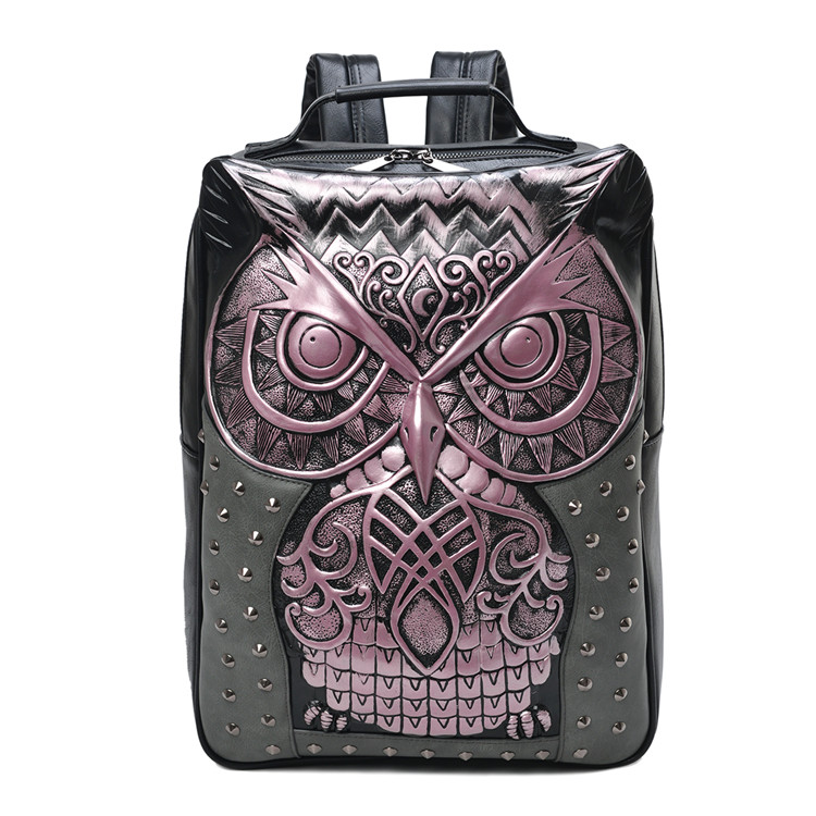 Women Backpack New Stylish Cool Black Leather 3D Embossed Owl Studded Backpack Female Unisex Bag Cool Punk Daily Use Bagpack цена