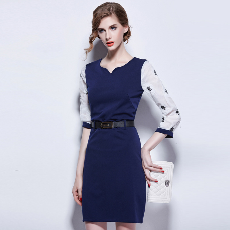 Apparel 2015 Brand New Winter Fashion Dress Plus Size 3/4 Sleeve with Double Pocket Casual Women Dresses Vestidos