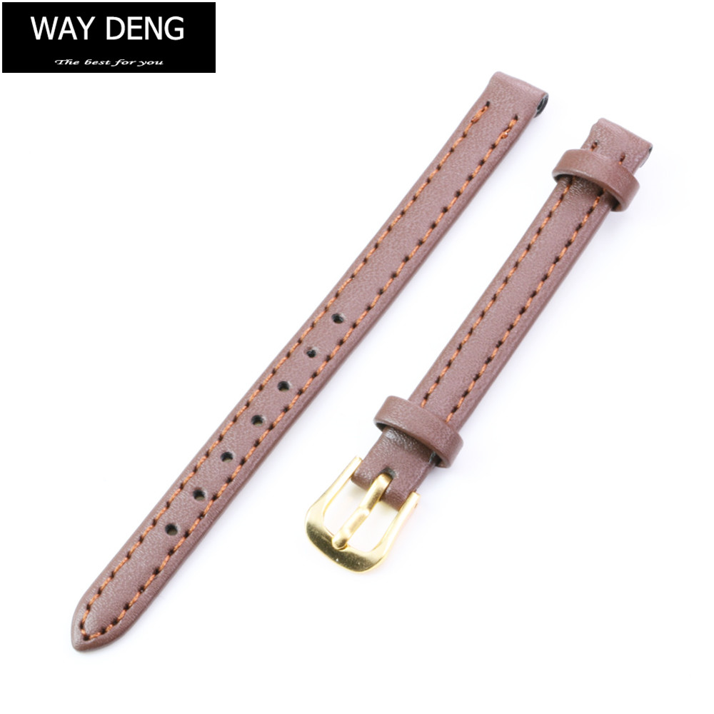 Way Deng - Women's Vintage Brown Soft Faux Leather Watchbands Watch Band Replacement Gold Pin Buckle Strap 8mm