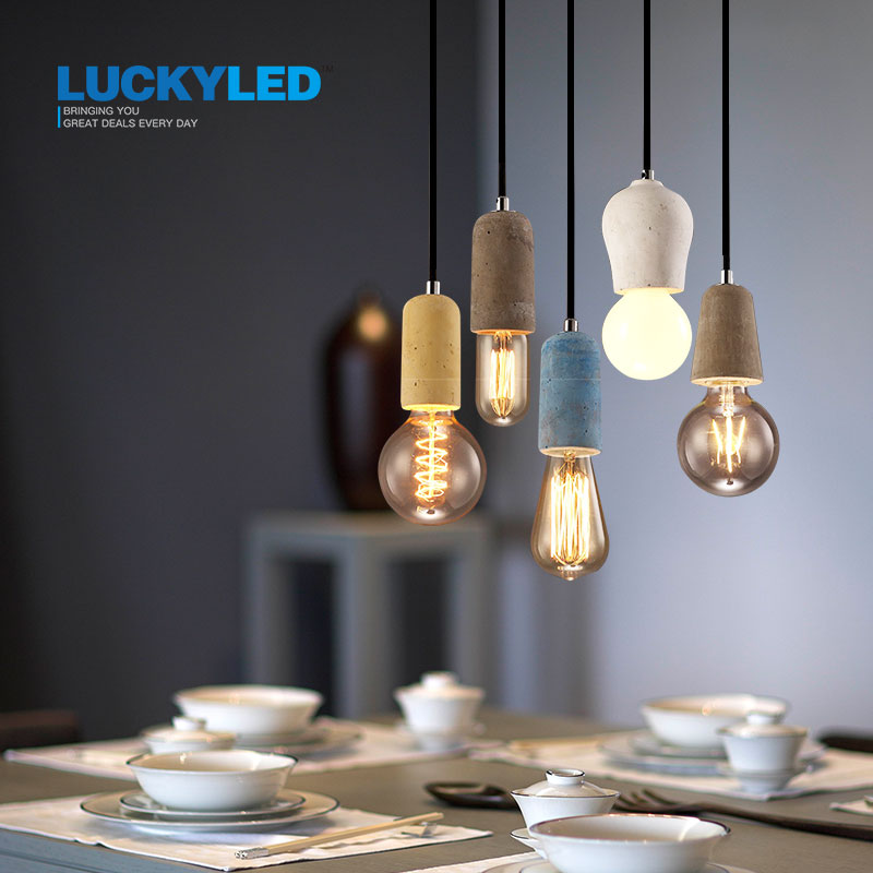 LUCKYLED Vintage Pendant Light American Country Style E27/E26 Socket Cement Lamp Holder Indoor Decoration Hanging Light Fixture