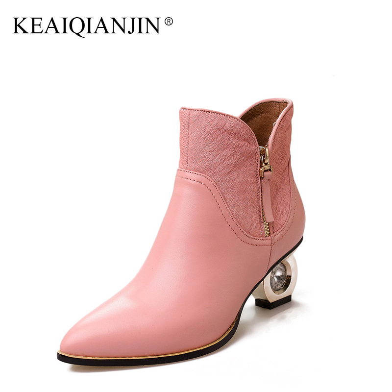 KEAIQIANJIN Woman Crystal Martens Boots Autumn Winter Black Pink Plus Size 33 - 42 High Boots Genuine Leather Ankle Boots 2017 keaiqianjin woman genuine leather martens boots black beige plus size 33 43 autumn winter shoes genuine leather ankle boots