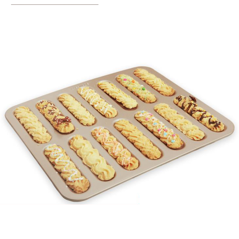 MyLifeUNIT 14 Cavity Bread Cake Mold Non-Stick Eclair Pan Carbon Steel Lightning Puff Tray Long Strip Finger Biscuit Mold
