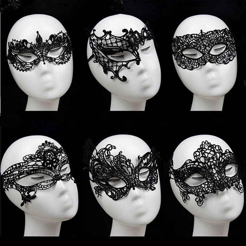 Baru Hitam Seksi Renda Potongan Masker Mata untuk Masquerade Partai Fancy Gaun Kostum untuk Gadis Wanita
