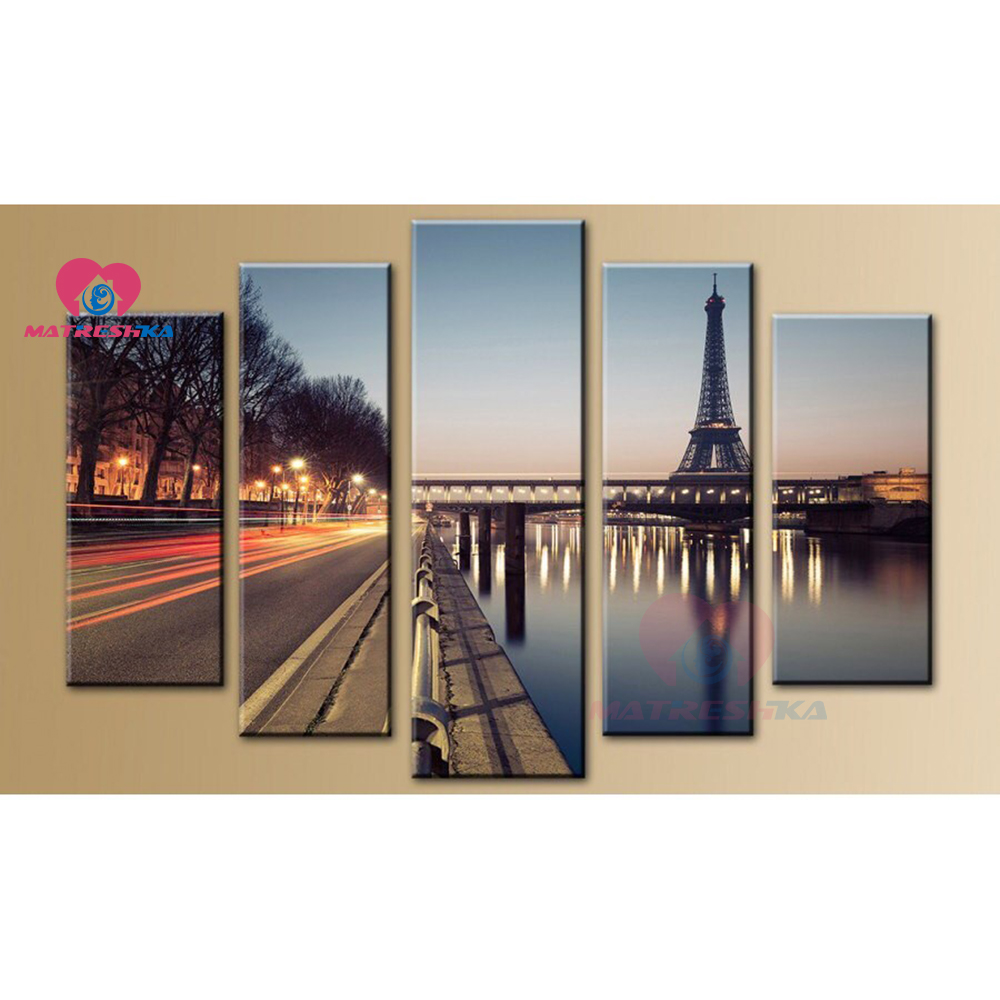 DIY Multi painting 5pcs 5d Diamond painting accessories Paris landscape full drill Cross stitch kits Wall arts Mosaic home decor