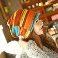 Новый Корейский Мода Набор Шляпа Куча Крышка Красочные Полосы Тюрбан тонкий Колпачок Весной И Зимой Женщины Хлопок Skullies Шапочки Прохладный шляпа