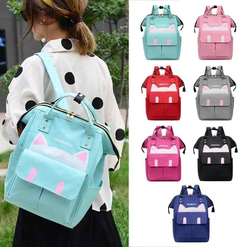Fashion Baby Nappy Bags Cute Cat Print Mommy Travel Women Backpacks Large Capacity Nylon Maternity Nappy Diaper Bags Baby Care