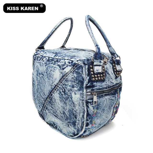 6f72712b3f KISS KAREN Fashion Denim Bag Women Casual Tote Jeans Ladies Handbags  Women s Shoulder Bags Stylish Trapeze Bags Travel Tote Bag