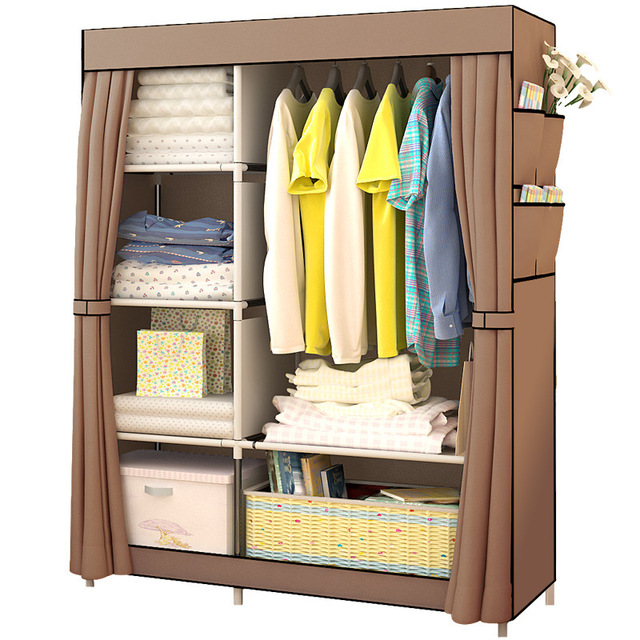 Simple Modern Large Speace Wardrobe Clothe Storage Cabinets Folding Non Woven Closet Furniture For Bedroom