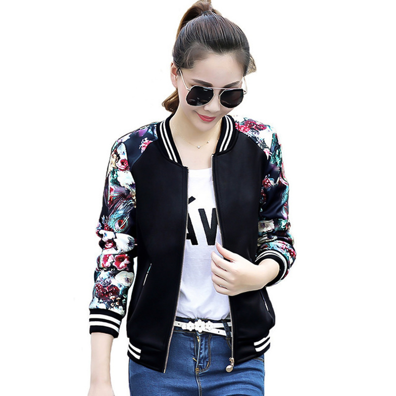 2018 Print Autumn Plus Size Women   Basic     Jackets   Casaco Feminino Bomber   Jackets   Coat Woman Fashion Outerwear Clothes Harajuku Top