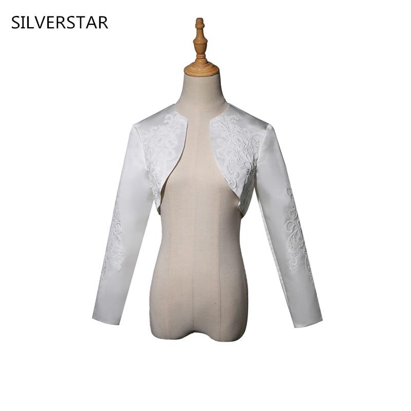 Bridal Satin Shrug Wedding Long Sleeve Jacket Wrap Women Wedding Bolero For Dress Evening