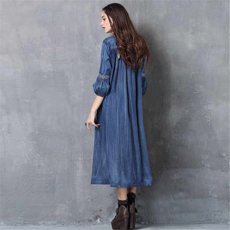Джинсовое платье для женщин 2018 Лето Вышивка большого размера, Винтаж Платье кисточкой с рукавом-фонариком свободные женские длинные джинсы платье A1885