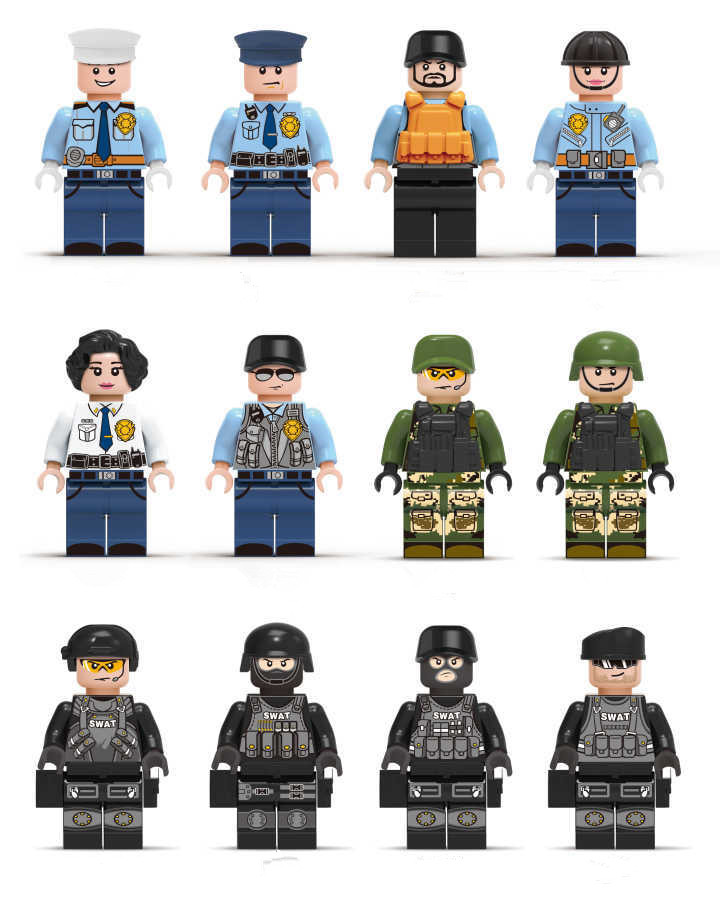 Painstaking Zxz 12pcs/set Figures Bricks Militaryed Swat Police Clown Batman Compatible With Legoes Building Blocks Figures Sets Pleasant To The Palate Model Building