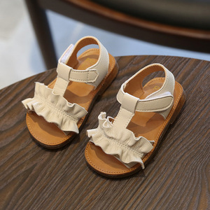 Image 2 - Claladoudou/Детские сандалии на 12 16 см; Цвет розовый, бежевый; Однотонные летние сандалии для девочек; Обувь принцессы с оборками; Нескользящие детские сандалии для малышей; 2019