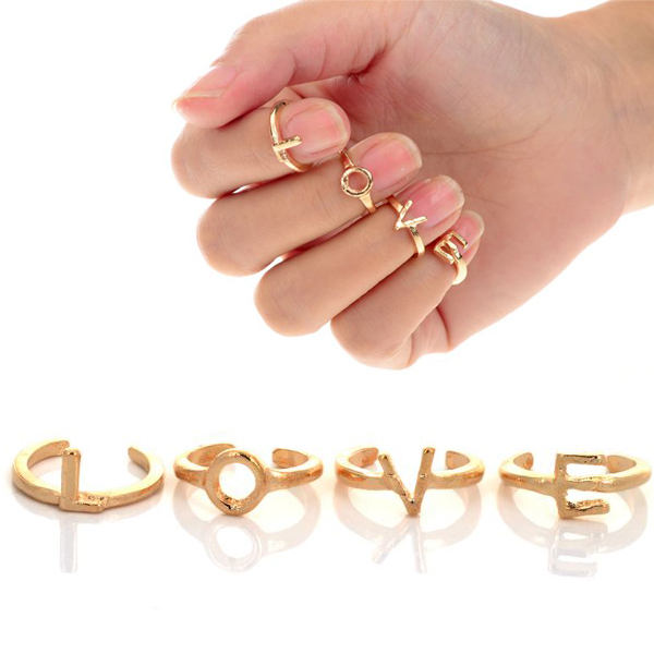 Wholesale 4pcs set Fashion Cute Gold tone Alphabet Letter LOVE