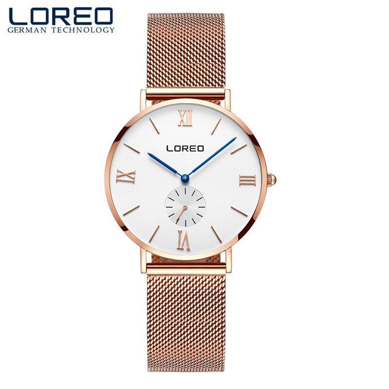 LOREO Men Women Watches Luxury Quartz Casual Watch Men Stainless Steel Mesh Strap Ultra Thin Dial Clock relogio masculino M25