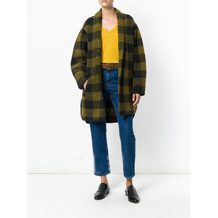 Темно зеленое и желтое шерстяное пальто Gino, тканые куртки в клетку, открытые спереди, с длинными рукавами, с заниженной линией плеч, 2018 Женск