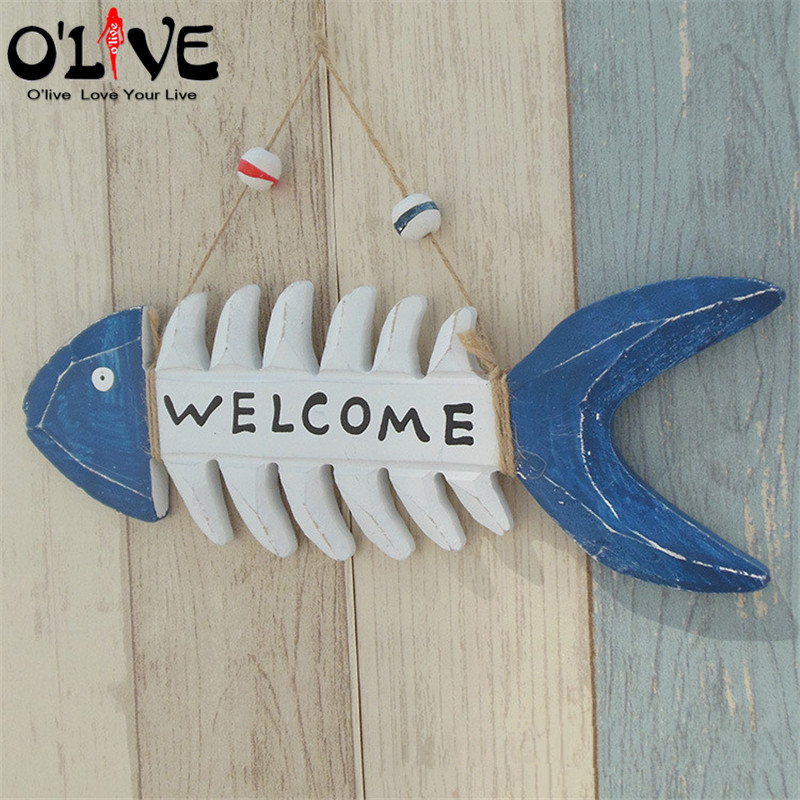 Wooden Welcome Sign Decoration Fishbone Hanging Ornaments Vintage Home Decor Marine Mediterranean Style Nautical Decor Crafts