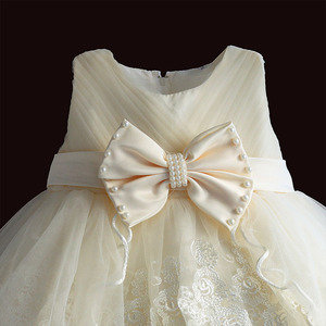 Image 3 - Baby Mädchen Kleid Für Party Prinzessin Spitze Perle Säuglings Taufe Kleid 1 Jahr Geburtstag Kleider Weihnachten Baby Kleidung