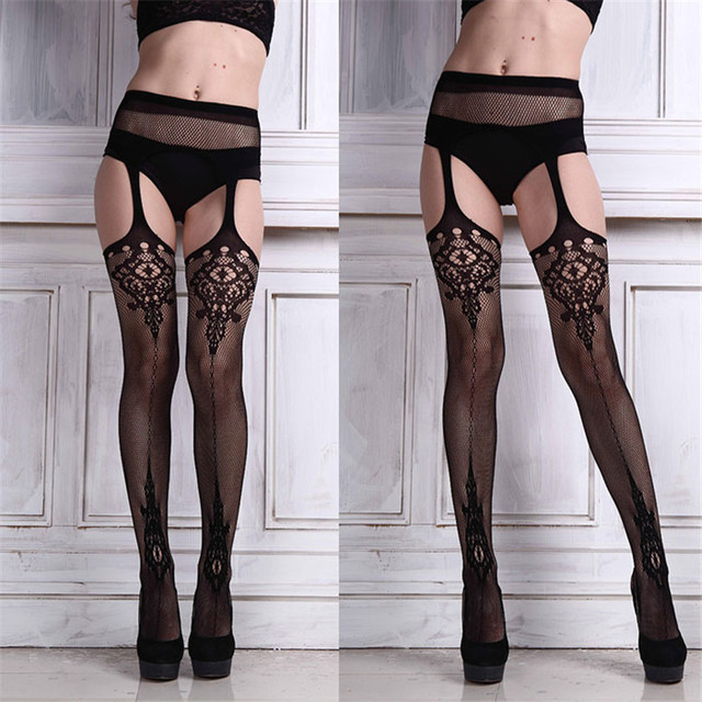 2018 New Hot Sale Sexy Womens Lingerie net Lace Top Garter Belt Thigh Stocking Pantyhose Brand New And High Quality #WQ5950