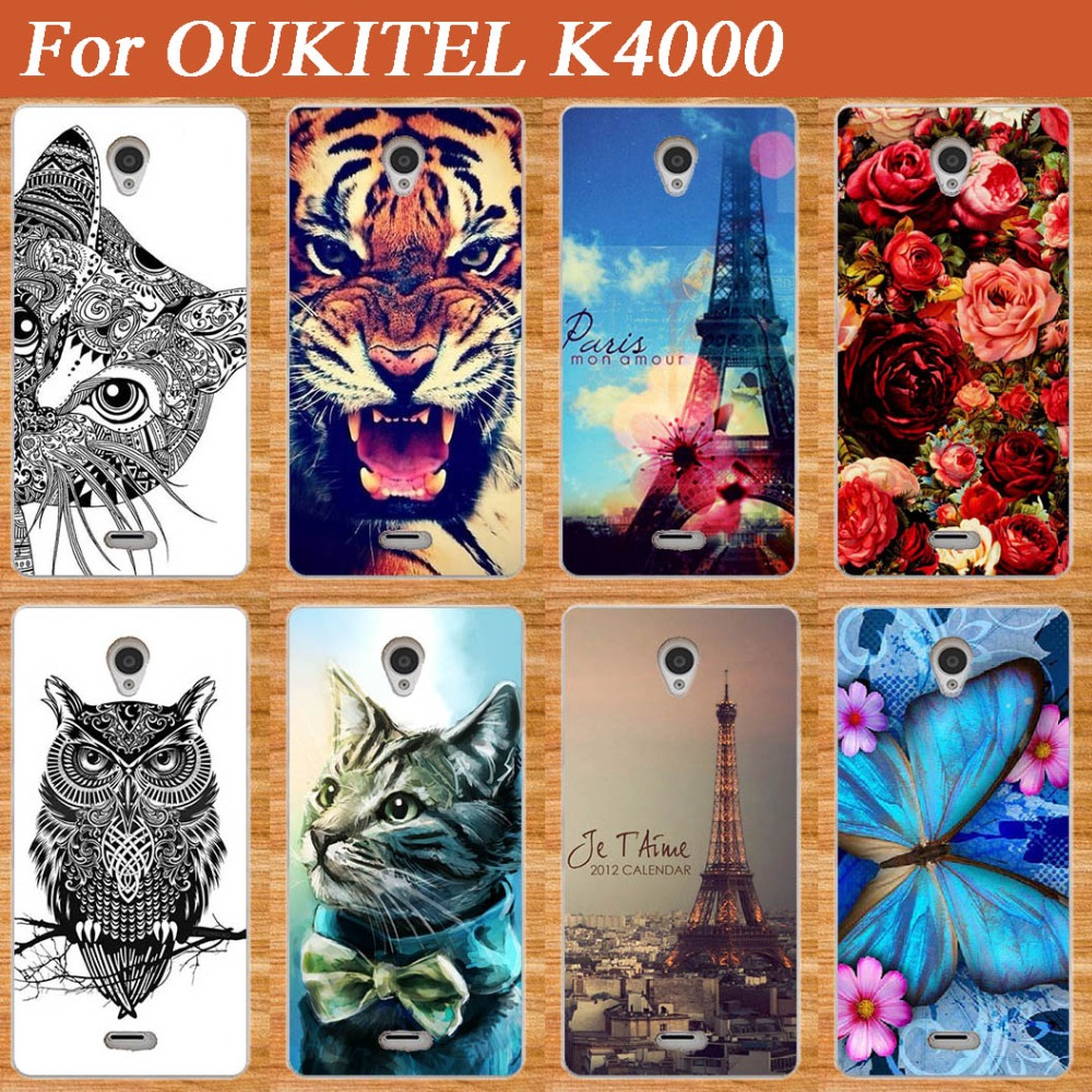 For <font><b>OUKITEL</b></font> <font><b>K4000</b></font> Case Cover,Luxury Diy UV Painting Colored Flowers Animals Eiffel Towers Soft Tpu Case For <font><b>OUKITEL</b></font> <font><b>K4000</b></font> Sheer image