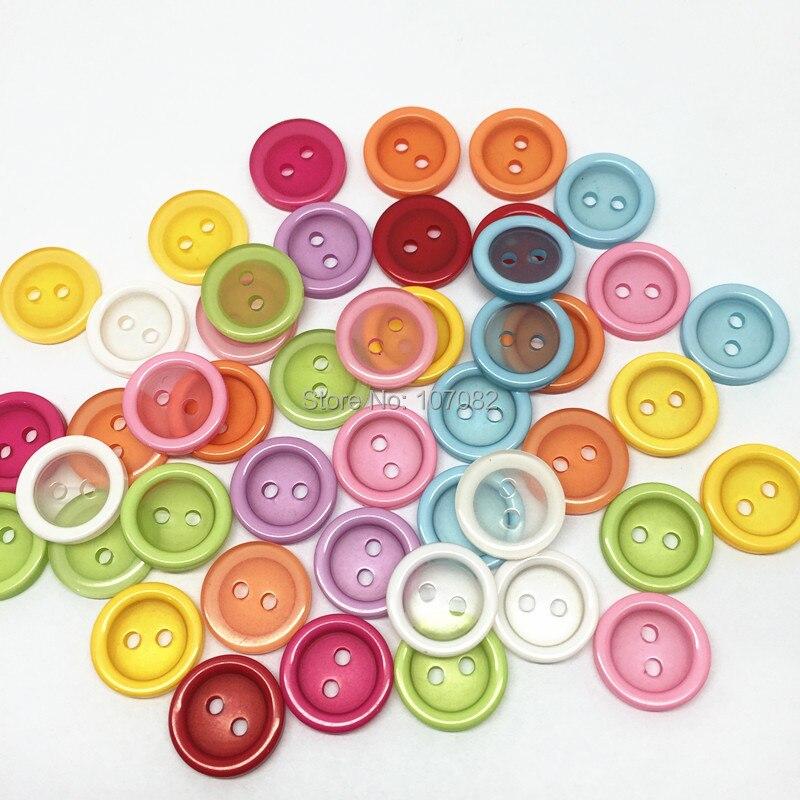 500 шт. 13 мм прозрачный Смешанная смола 2 отверстия Вышивание Пуговицы Детская рубашка круглый Пуговицы для Скрапбукинг