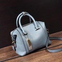 2017 New Boston Bags Fashion Women Leather Handbags Blue Women Tote Bag Europe And America Style
