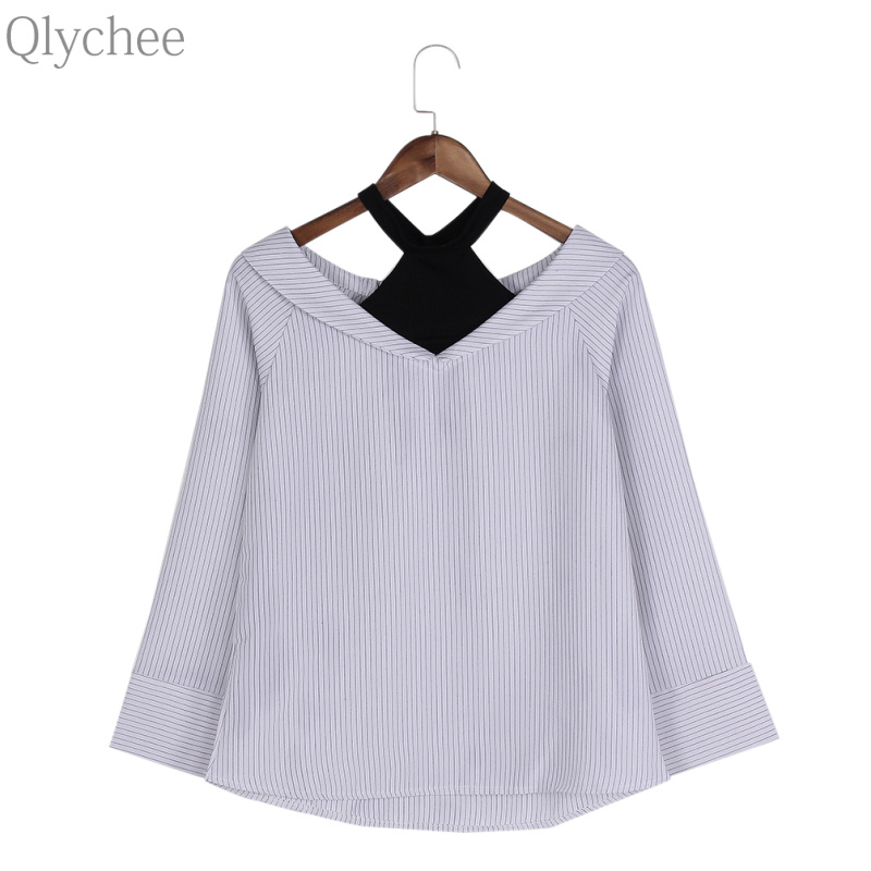 Qlychee Fake Two Pieces Halter off Shoulder Stripe Tops Women Autumn Loose Long Sleeve T Shirts
