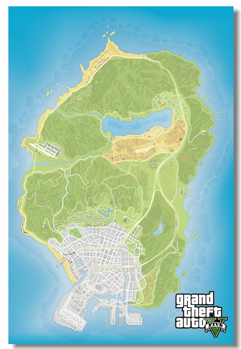 US 5 99 OFF Custom Canvas Wall Prints GTA V Game Map Poster Grand Theft Auto San Andres Sticker Living Room Wallpaper Wall Decoration 0921 Wall