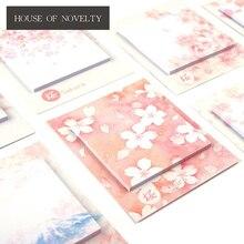 Romantic Sakura Beautiful Flowers Self-Adhesive N Times Memo Pad Sticky Notes Bookmark School Office Supply