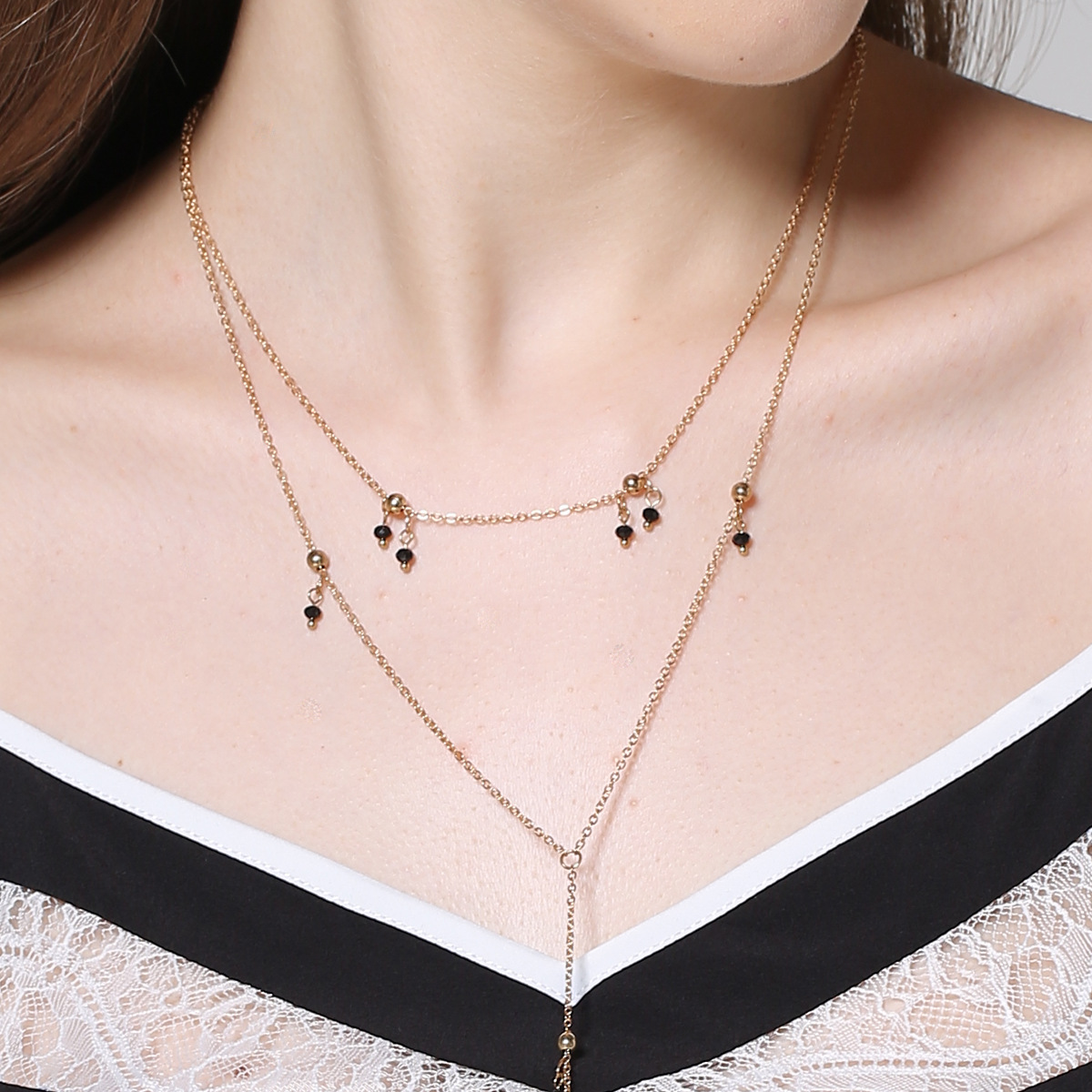 Simple Multi Element Set Necklace Artificial Sequins Multilayer Crystal Exaggerated Long Necklace in Chain Necklaces from Jewelry Accessories
