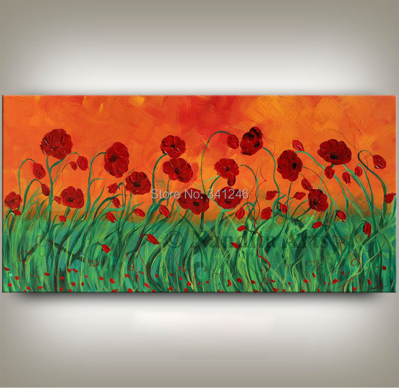 NEW Hand painted modern home decor wall art picture red green poppy thick paint palette font