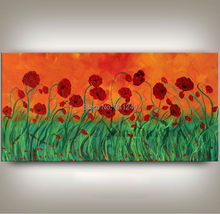 NEW Hand-painted modern home decor wall art picture red green poppy thick paint palette knife oil painting on canvas