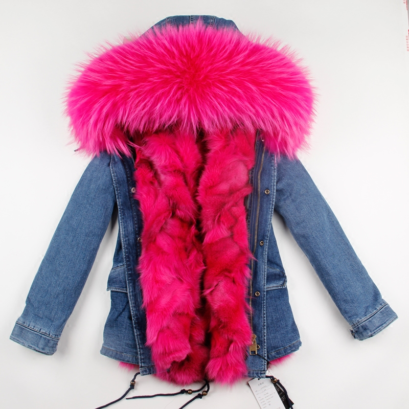 Korean Hot Sale 2017 Winter Real Fox Fur Lining Denim Jacket Coat Parkas Large Raccoon Fur Collar Women Winter Coat Jacket Denim 2017 winter new clothes to overcome the coat of women in the long reed rabbit hair fur fur coat fox raccoon fur collar