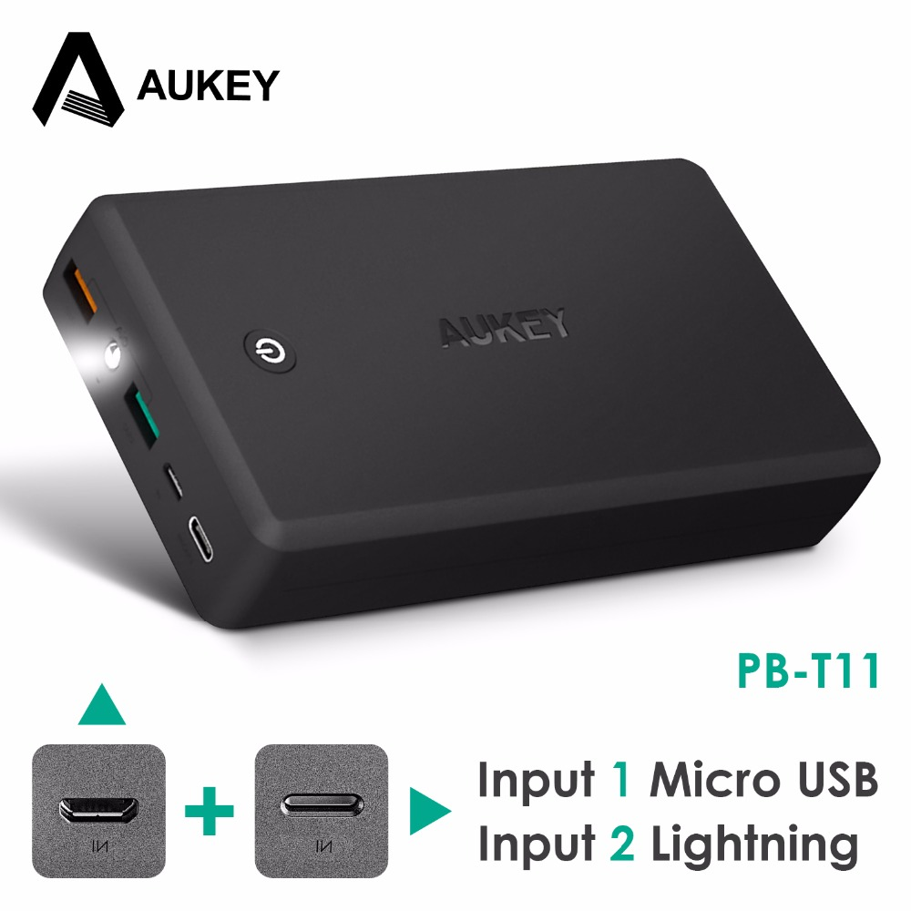 AUKEY Power Bank for Lightning & Micro Input 30000mAh Quick Charge 3.0 PowerBank for Xiaomi mi Phone Dual Usb External Battery