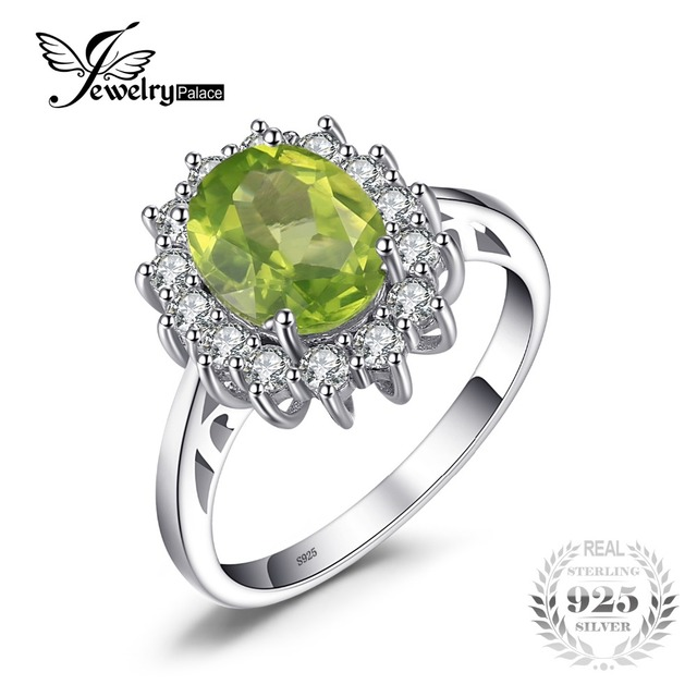 jewelrypalace 274ct princess diana william kate middletons natural green peridot engagement ring 925 sterling silver - Peridot Wedding Rings