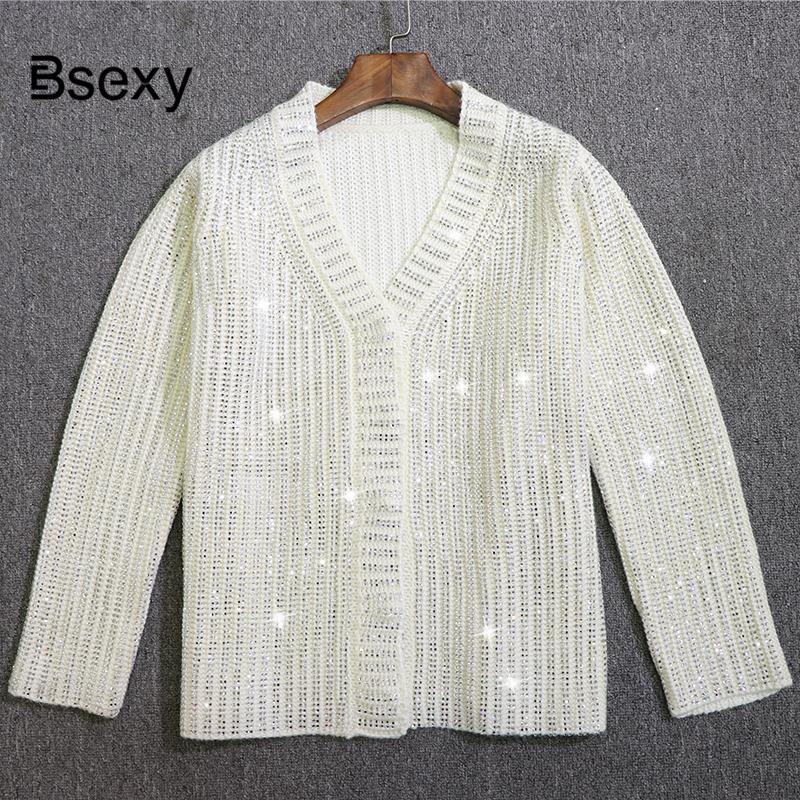 Luxury Wool Blend Women Cardigan 2019 Spring V neck BlingBling Crystals Beaded Loose Cardigan Sweater Runway