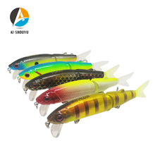 AI-SHOUYU New 1pcs 90mm 14.5g Hard Bait with 2 Tails Minnow Fishing Lure Sinking Artificial Magallon