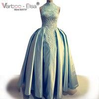 Arabe Dubaï Robes De Soirée col haut De Bal Robes réel photos ciel bleu Robes De Soirée perle perles parti robe de bal