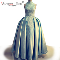 Arabic Dubai Evening Dresses high neck Prom Dresses real pictures sky blue Evening Dresses pearl beads party dress ball gown