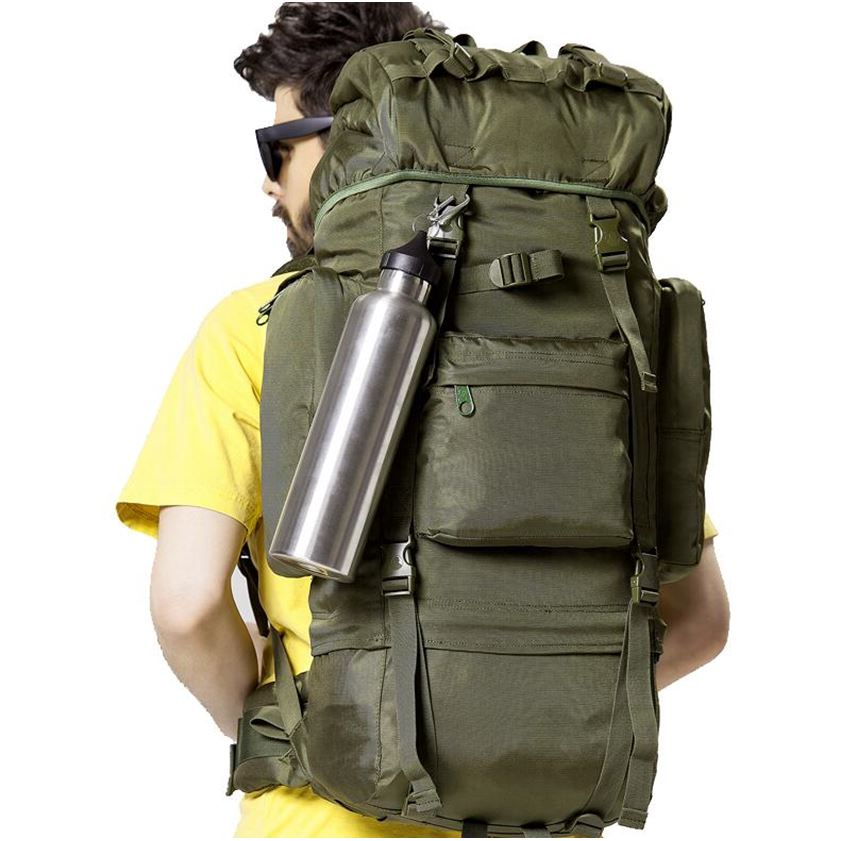KUNDUI Luggage double-shoulder professional 70 l mountaineering bag Camouflage canvas wo ...
