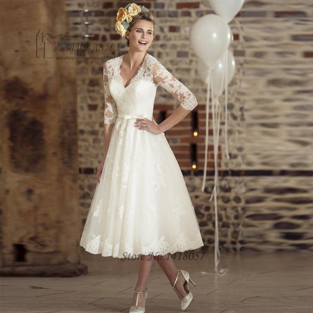 Vestido de Noiva Curto Vintage Ivory Tea Length Wedding Dress Lace 2017 Wedding Gowns V Neck