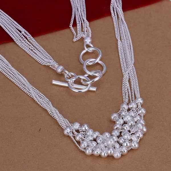Offre spéciale en gros 925 estampillé argent plaqué ensemble de bijoux de mode, Six lignes perles givrées argent collier et Bracelet ensembles de bijoux