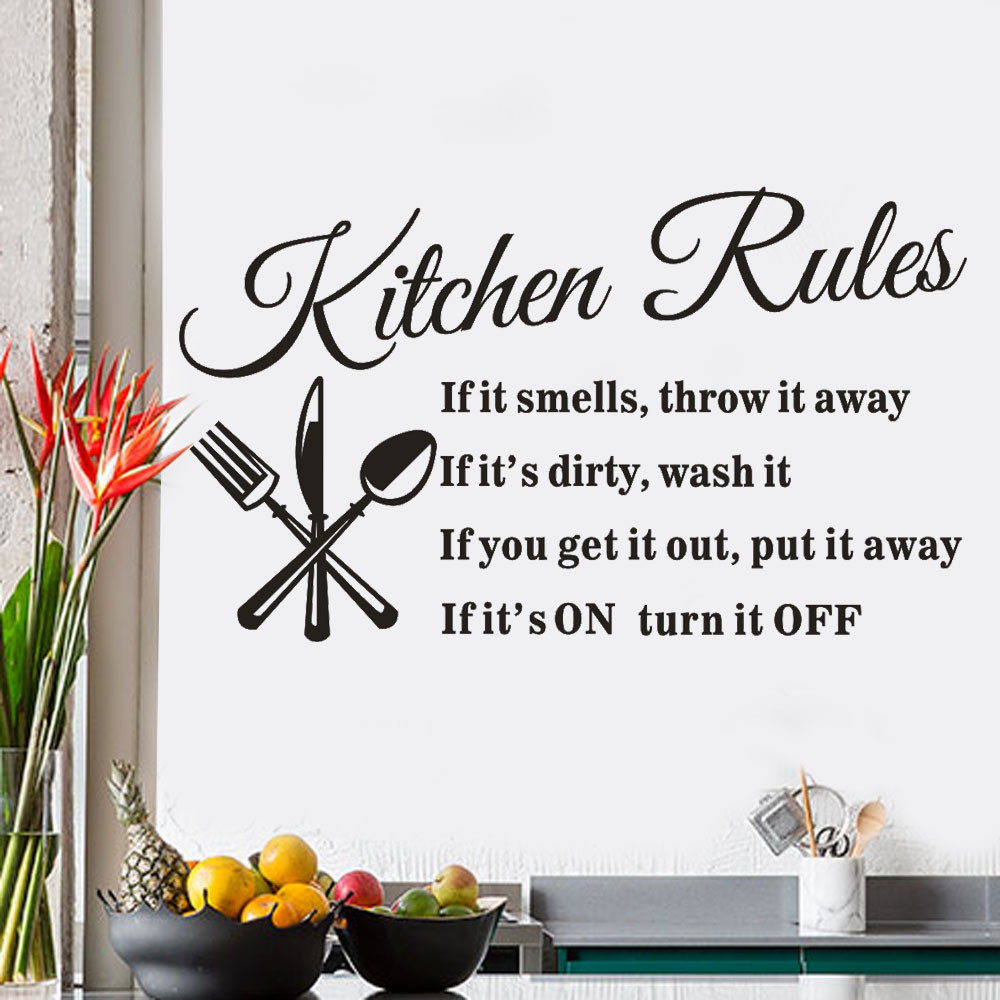 1PCS Kitchen Rules Restaurant PVC Wall Sticker Decal Decoration Mural DIY Removable Wall Stickers Living Room Home Dcor #0912