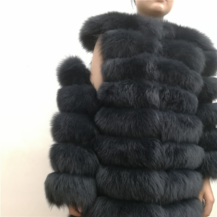 100% Natural Real Fox Fur Coat Women Winter Genuine Vest Waistcoat Thick Warm Long Jacket With Sleeve Outwear Overcoat plus size 25