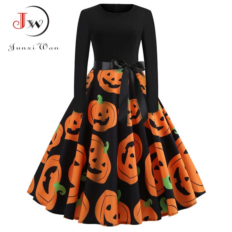 Halloween Vintage Dress Women Pumpkin Print Patchwork Midi Autumn Winter Dresses Long Sleeve Elegant Party Dress Plus Size 1