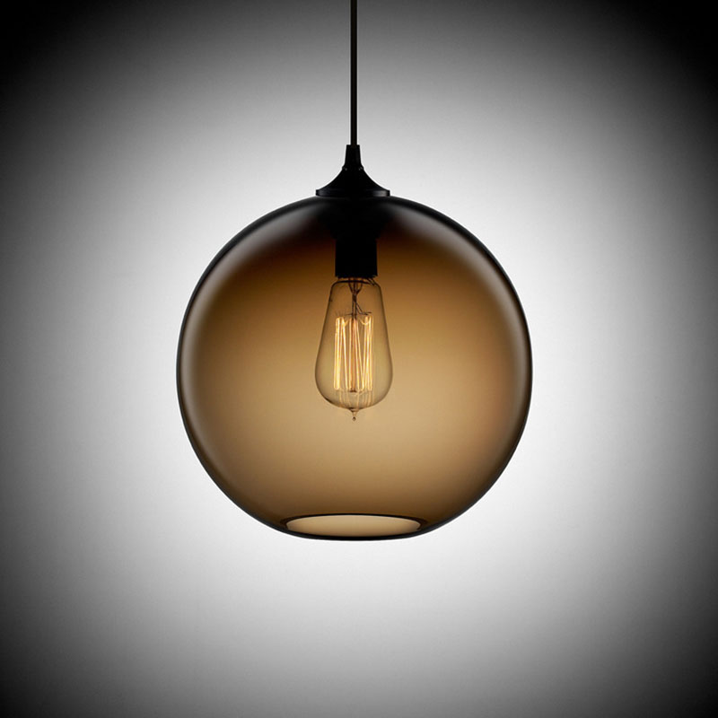 Loft Antique Vintage Industrial 6 Color Glass Ball Pendant Lights Fixtures for Kitchen Restaurant Dining Living